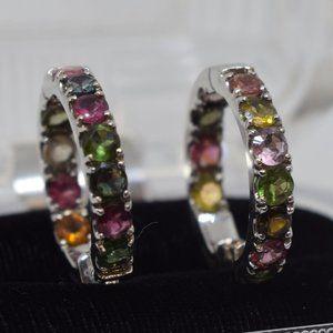 Multi Tourmaline Stud in Sterling Silver Earrings
